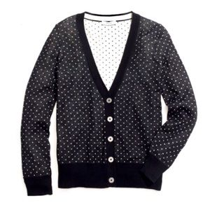 Madewell Pindot Sweater Cardigan Black Dots Sz M